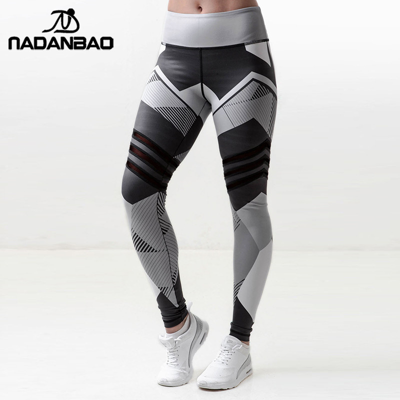 NADANBAO Stripped Geometric Design   Leggings   Women Digital Print Plus Size   legging   High Waist Workout Fitness Stretch Pants