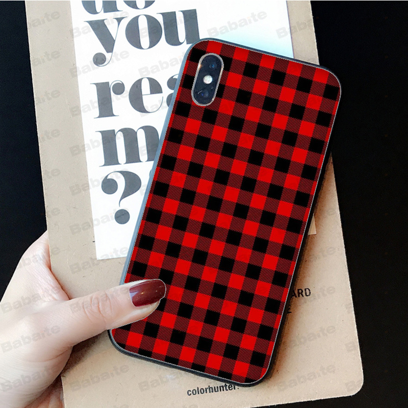 Babaite Checkerboard Checked Checke DIY Printing Drawing Phone Case cover Shell for iPhone X XS MAX 6 6S 7 7plus 8 8Plus 5 5S XR in Half wrapped Cases from Cellphones Telecommunications