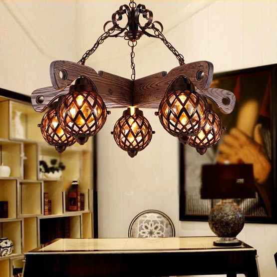 Wrought Iron Art American Restaurant Chinese style Retro Bar Counter Ideas Of Living Room Hanging Lamp PL062 Free Shipping