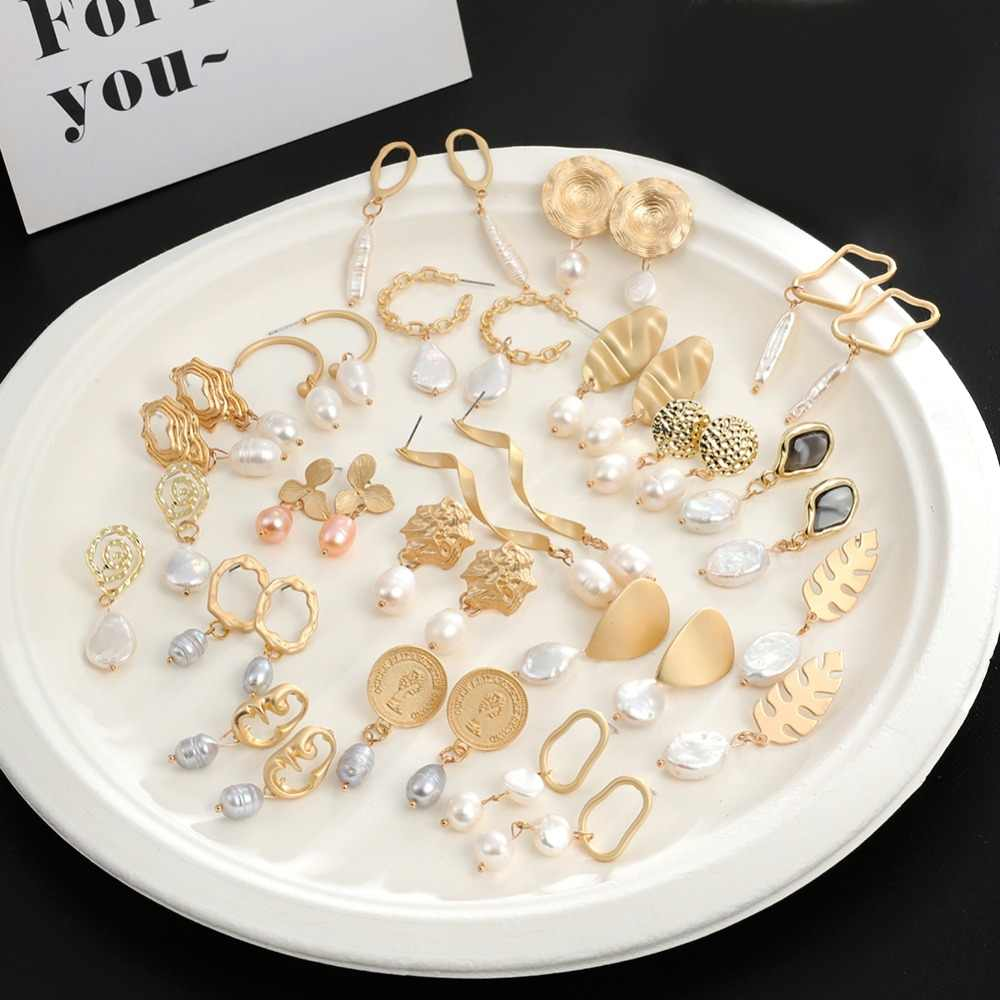 Korea Circle Geometric Irregular Freshwater Pearl Stud Earring Gold Mixed Style Pendant Earrings for Women boucle d'oreille