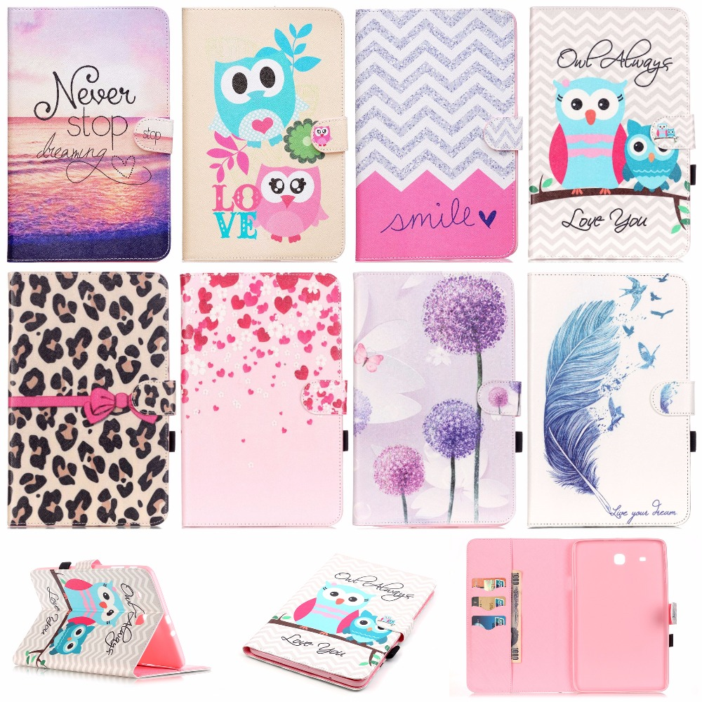 For Samsung Galaxy Tab E 9.6 T560 SM-T560 Fashion PU Leather Flip Case For Samsung Galaxy Tab E T561 SM-T561 Tablet Smart Case cute pet cat stand cover for samsung galaxy tab e 9 6 sm t560 sm t561 tablet case funda for samsung tab e 9 6 t560 leather cover
