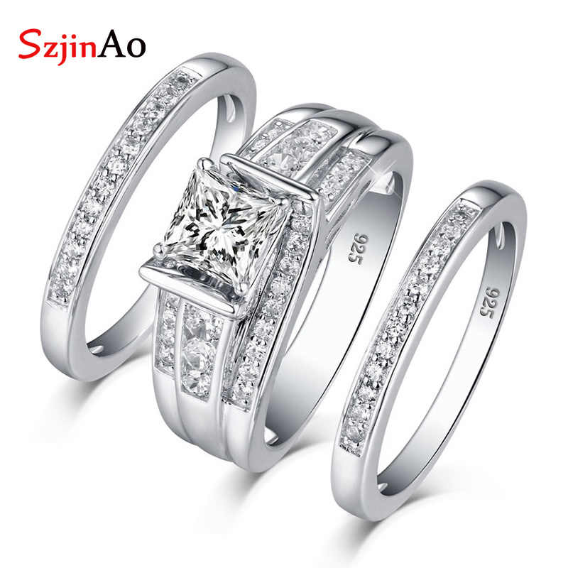 SzjinAo Genuine Unique Solid 925 Sterling Silver Charming Zircon Rings April Birthstone Luxury Brand Fine Jewelry Wedding Gift