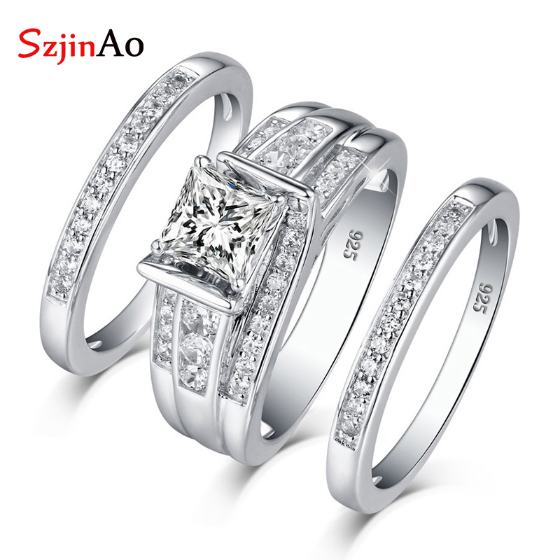 SzjinAo Genuine Unique Solid 925 Sterling Silver Charming Zircon Rings April Birthstone Luxury Brand Fine Jewelry Wedding GiftSzjinAo Genuine Unique Solid 925 Sterling Silver Charming Zircon Rings April Birthstone Luxury Brand Fine Jewelry Wedding Gift
