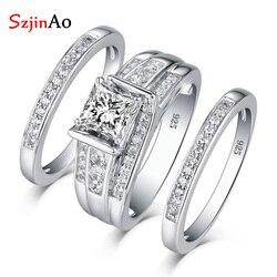 SzjinAo ювелирный набор, Настоящее серебро 925 пробы, бриллиантовые кольца для женщин, свадьба, известный бренд, роскошные ювелирные изделия, уни...