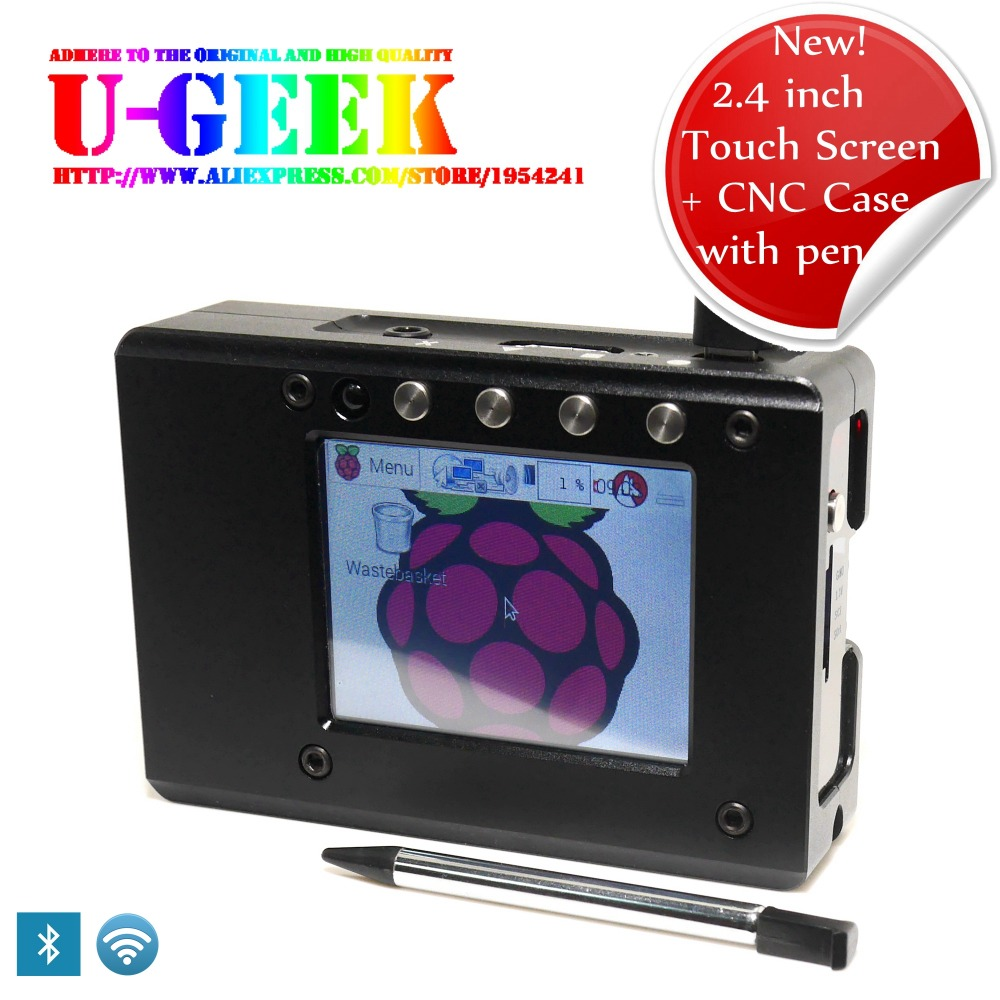 Prix pour Écran tactile! métal Portable Boîte Kit-En Alliage D'aluminium CNC Cas + 2.4 pouce Tactile TFT Écran + Vis pour Raspberry Pi 3 Modèle B/2B/B +