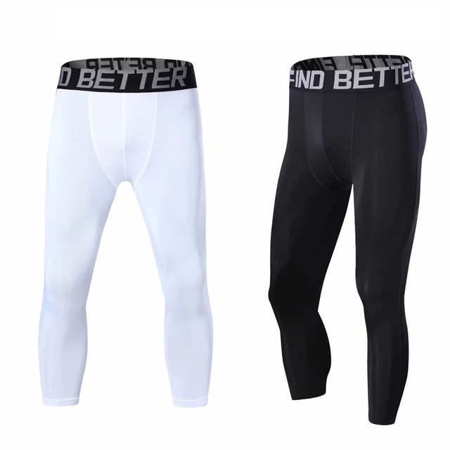 US $10 19 32% OFF|Men compression underwear clothing running pants 3 4  leggings soccer basketball tights sport cropped pant gym fitness Legging-in