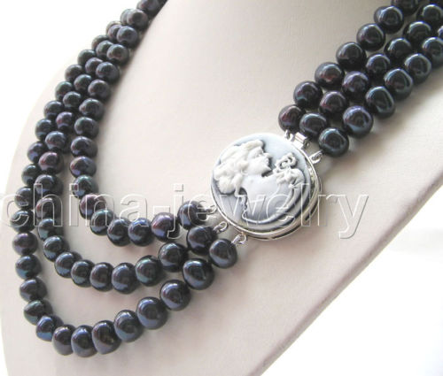 Wholesale price 16new ^^^^3row 20-24 10-11mm black round freshwater pearl necklace-cameo claspWholesale price 16new ^^^^3row 20-24 10-11mm black round freshwater pearl necklace-cameo clasp