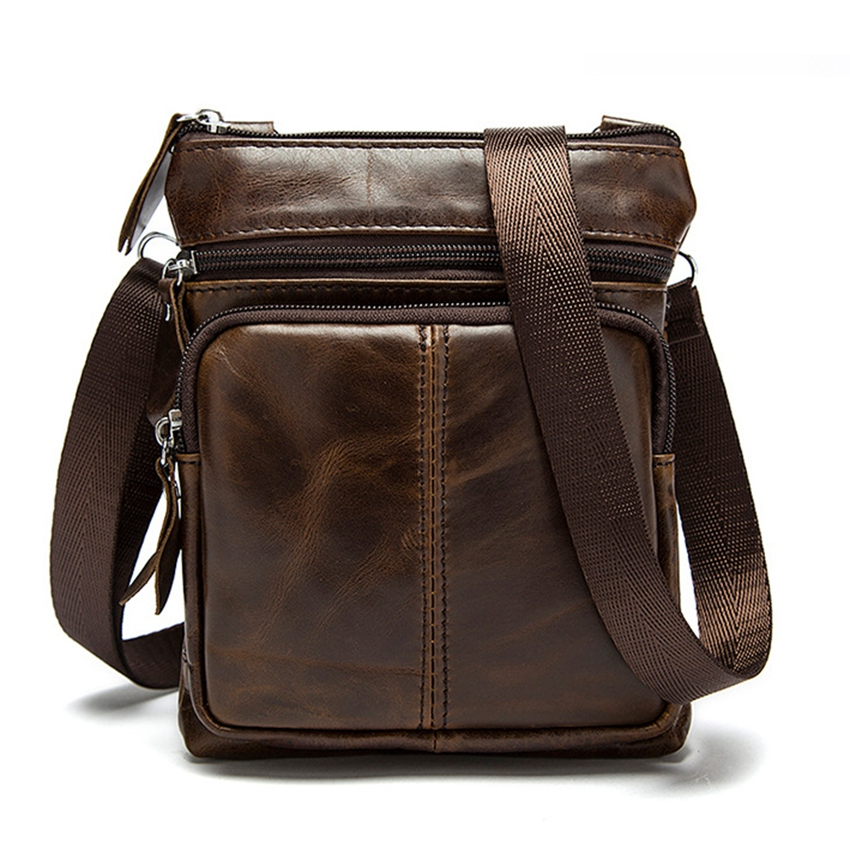 c3715485c5b5 Vintage Men Shoulder bag Genuine Leather Small Crossbody bags for Messenger  Flap men Leather bags Handbag