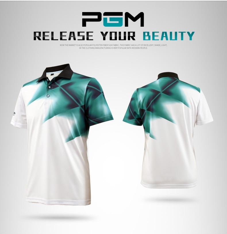 2018 PGM Golf Apparel mens Short Sleeve t shirt summer Breathable moisture absorption Uv resistance shirt for men size M-XXL