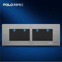 Free Shipping POLO Luxury Wall Light Switch Panel 4 Gang 1 Way Switch Push Button LED