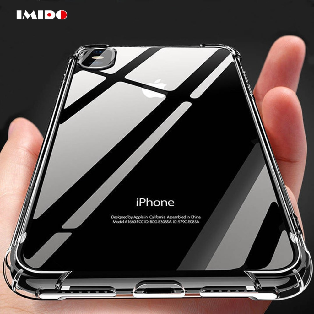 Clear Shockproof Phone Case For iPhone XSMAX XR XS X 8 7 6 6S Plus 5 5S SE Transparent Soft TPU Silicone Back Cover Coque Capa in Fitted Cases from Cellphones Telecommunications