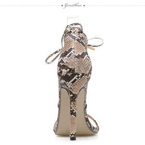 Image 2 - GENSHUO 2020 Summer Fashion Snake skin Ankle Strap Women Sandals Cross tied Super High Stiletto Heels Lady Pumps Sandals Shoes