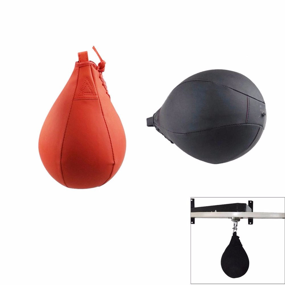 Jauna profesionālā PU boksa ātruma bumbiņas Bumbieru sporta caurumošanas soma Fitnesa treniņš MMA apmācības aprīkojuma rīki Melns sarkans