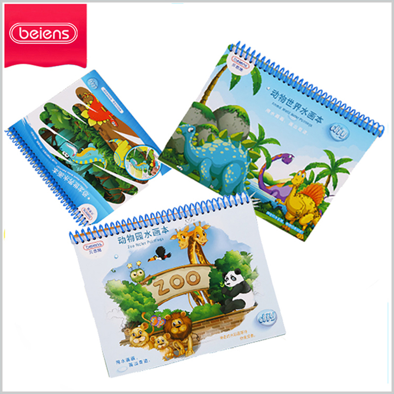 Beiens Water Painting Book! Reusable Reusable Water-Reveal Activity Pads, 4 Pcs, Animals For Children Education Drawing Toy my counting sticker activity book
