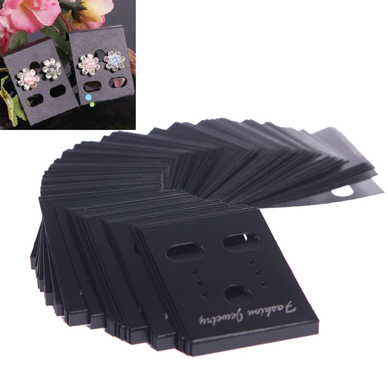 100Pcs Earring Ear Studs Organizer Holder Black Plastic Jewelry Display Rack Printed Earring Cards #