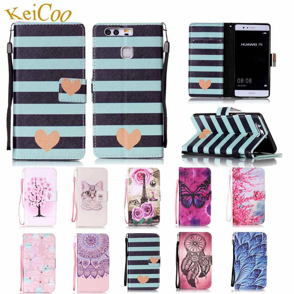 For HUAWEI P9 Dual SIM EVA-AL10 EVA-L19 EVA-AL00 Brand Book Flip PU Leather Cases For HUAWEI P9 EVA-L09 Cute Card Holder Covers