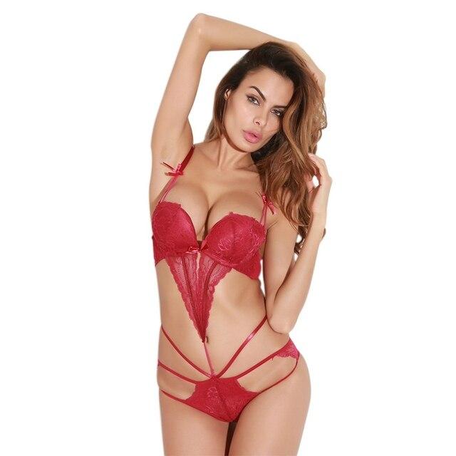 Detachable Cross Bodysuit Women Sexy Lingerie Erotic Underwear Sexy Lace Up One Piece Bodysuit Lingerie Porn
