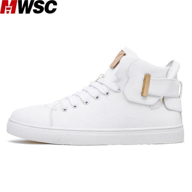 b7528cfe2 MWSC 2018 Novo Homem Lazer Tênis Branco Sapatos Masculinos High Top Lace Up  Casual Sapatos Da