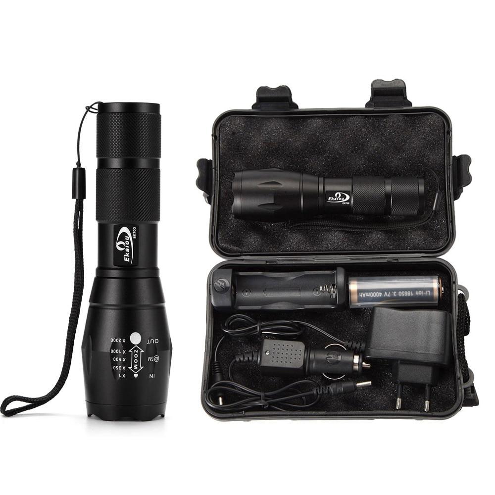 EKAIOU XM-L T6 führte Zoom Taschenlampe G700 Tactical 5000 Lumen Led High Power Taschenlampen AAA oder 18650 Batterie-Kit