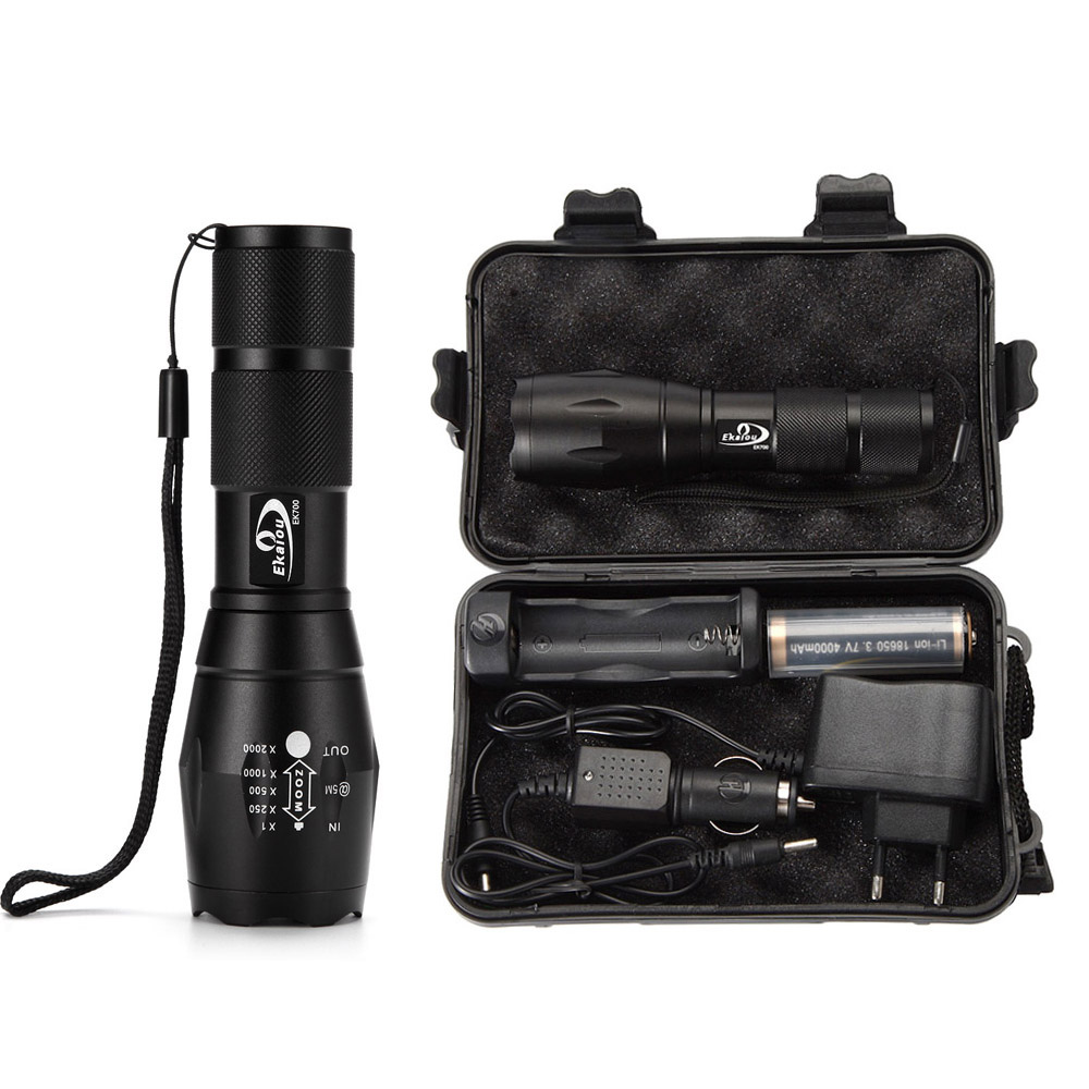 EKAIOU XM-L T6 Led Zoom Flashlight Torch G700 Tactical Led High Power Flashlights AAA Or 18650 Battery Kit