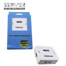 SSRIVER Mini HD Video Converter Caja HDMI a AV RCA/CVSB L/R HDMI2AV Soporte NTSC de Vídeo y Salida PAL