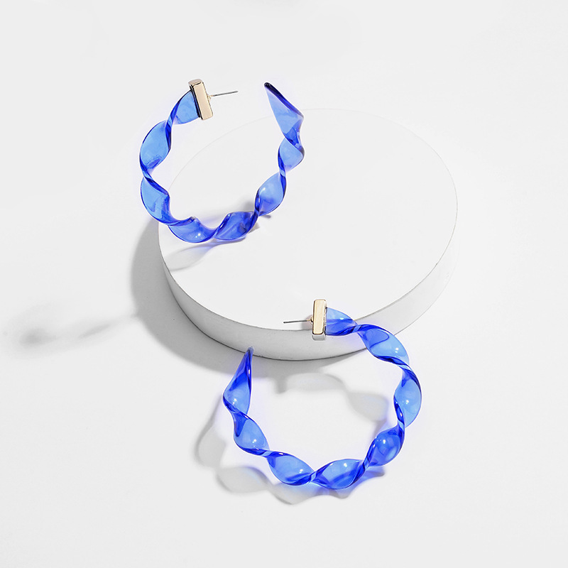 Fashion Jewelry Twisted Transparent Acrylic Lucite Resin Big Hoop Earrings for Women in Hoop Earrings from Jewelry Accessories
