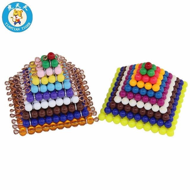 Baby Kids Montessori Children Mathematics Learning Preschool Training Toys Colored Bead Squares 1-10