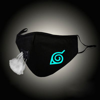Glow In Dark Mouth Mask Hokage Konoha Leaf Cosplay Cotton Face Mask Anti PM2.5 Dust Filter Muffle Valved Respirator Christmas