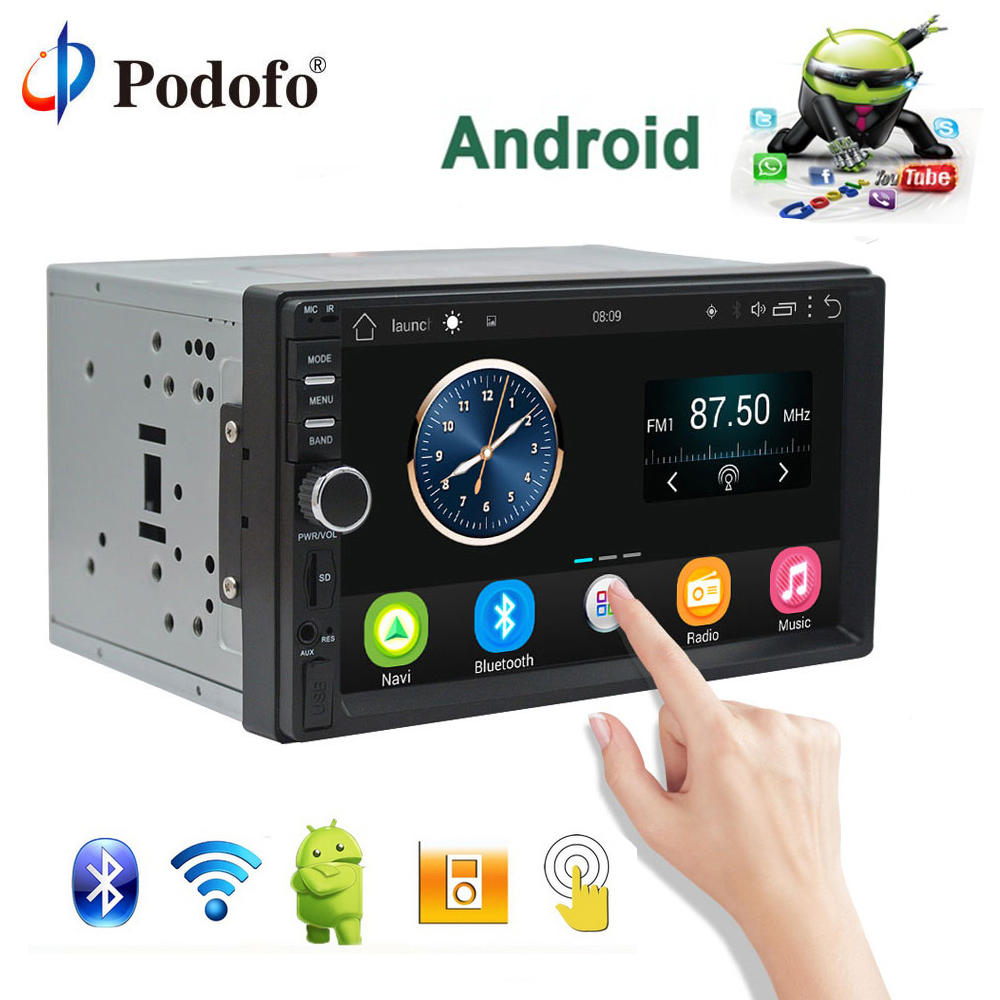 Podofo Авто Радио 2 Din Android gps навигация автомобиля Радио Стерео 7 HD Универсальный Автомобильный плеер Bluetooth USB аудио резервная камера