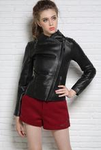 Autumn black stand collar motorcycle genuine leather jacket womens sheepskin coats oblique zipper fashion slim star style 2XL