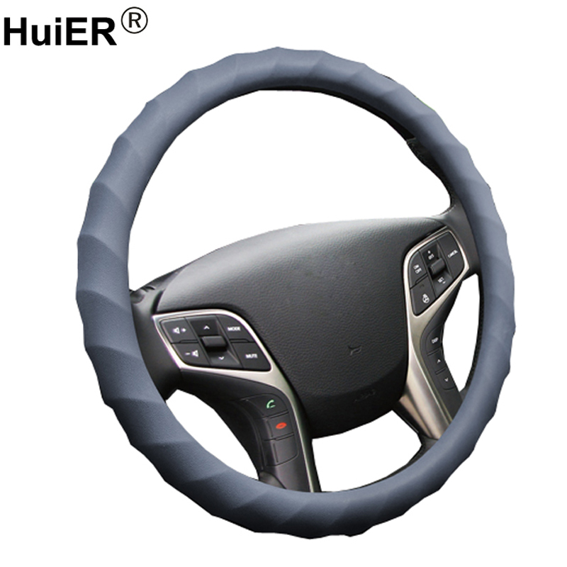 HuiER Auto Car Steering Wheel Cover High Food Grade Silicone Anti-slip 36-40CM/14.2-15.7 Car Styling Steering-wheel Car-covers