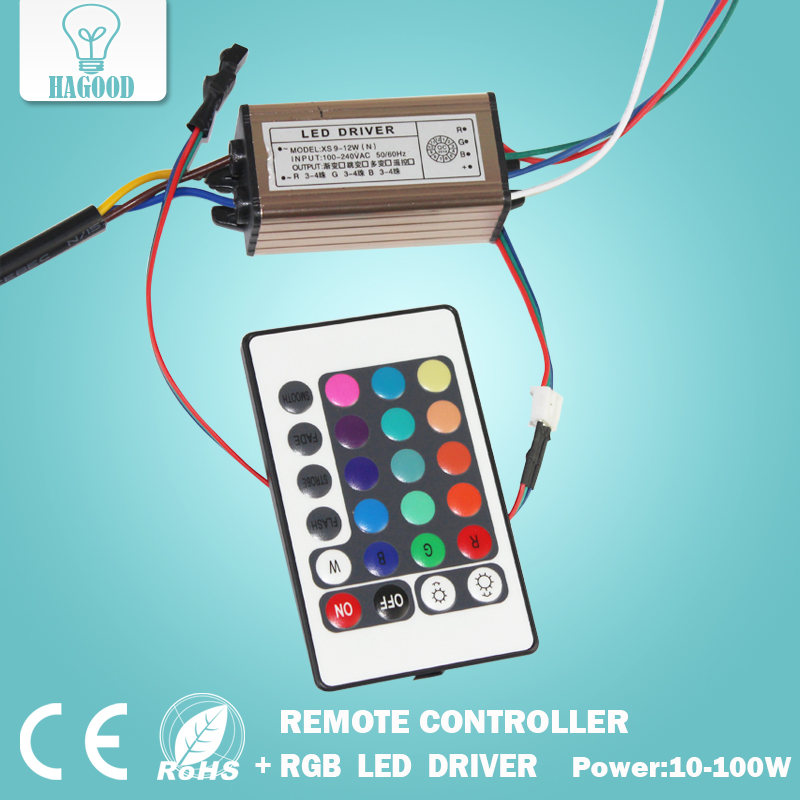10-100W LED Driver AC85-265V DC25-38V Power Supply Waterproof IP66 Led Transformers + RGB Remote Controller for Led Light DIY good group diy kit led display include p8 smd3in1 30pcs led modules 1 pcs rgb led controller 4 pcs led power supply