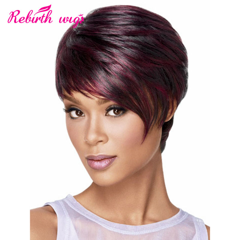 African American Short Wigs Synthetic Hair Short Burgundy