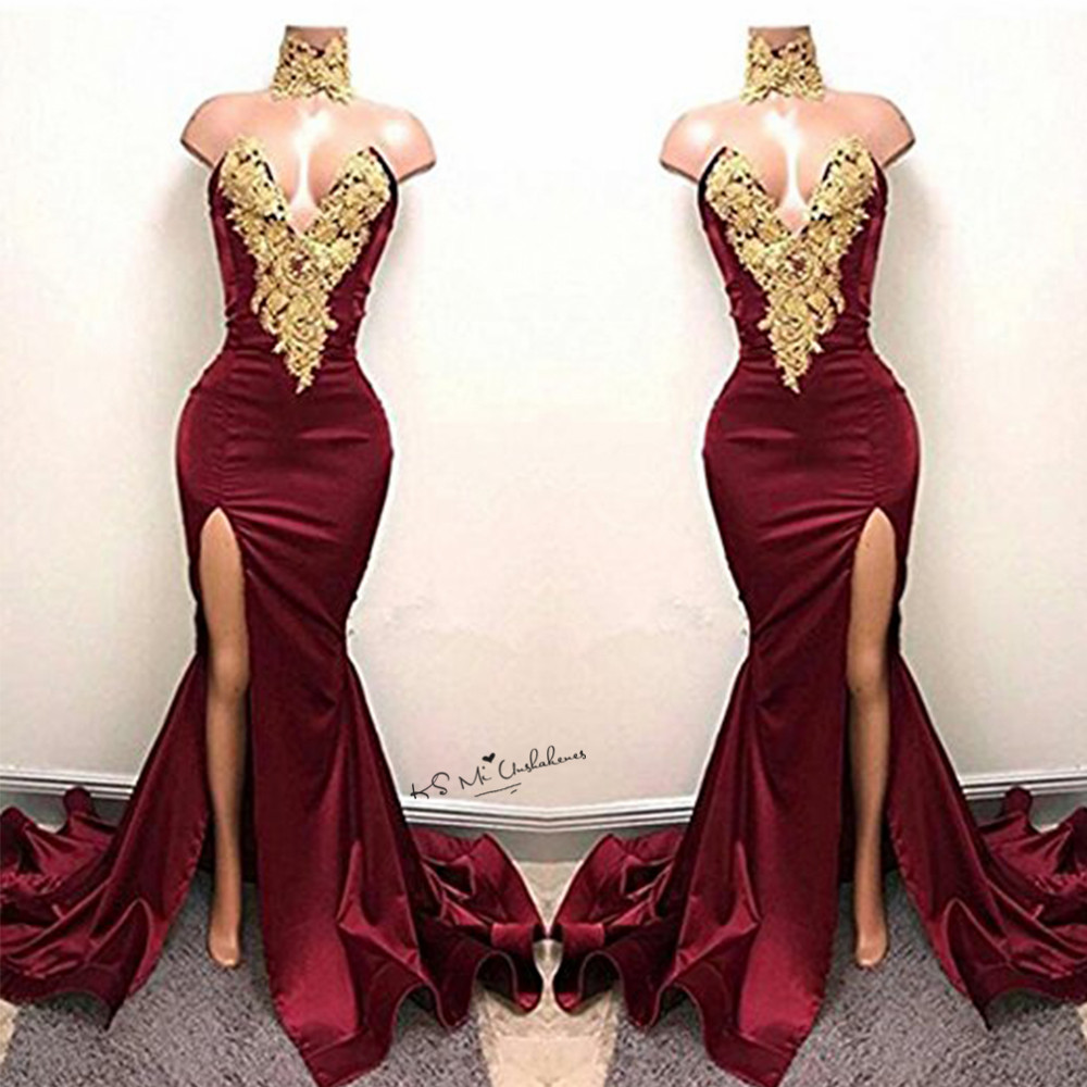 Burgundy Sexy Women Gold Lace Applique Long Evening Gowns Split Side Mermaid Prom Dresses 2017 High
