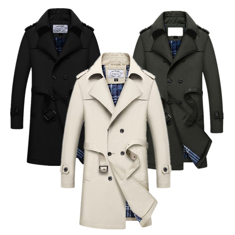 Mens   Trench   Coat 2018 New Fashion Designer Men Long Coat Autumn Winter Double-breasted Windproof Slim   Trench   Coat Men Size S~5XL