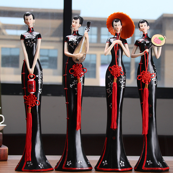 Chinese Ladies Resin Figurines Creative Home Decoration 1