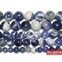 Perles Sodalite bleues pour la fabrication de bijoux, cordon de 15 pouces, taille au choix 4 6 8 10 12mm