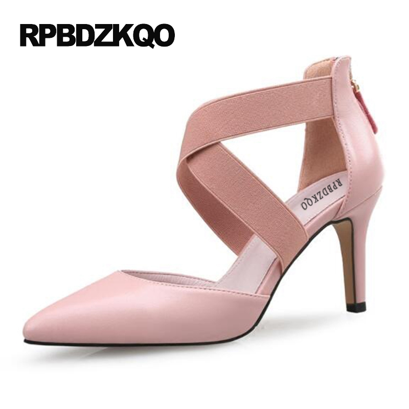 Size 4 34 33 Cross Strap 12 44 2017 Gladiator Pumps Celebrity Prom Shoes 3 Inch Pointed Toe Stiletto High Heels Zipper 10 42 Big