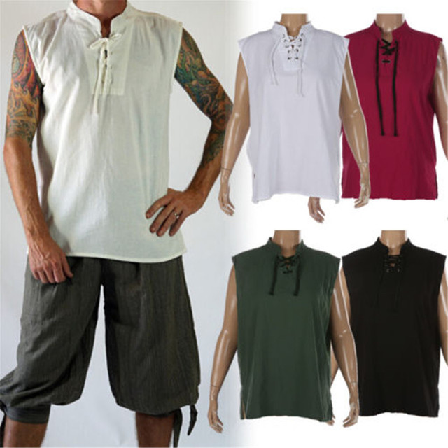 8592969cd Drop Shipping Renaissance Mens Sleeveless Knight Top Shirt Medieval Peasant  Pirate Cos Costume S-3XL