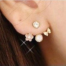 2019 Crystal Jewelry Fashion Korean Cute Lovely Style Rhinestone Butterfly Flower Mounted Stud Earrings for Women(China)