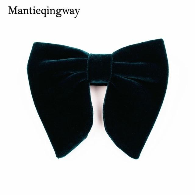 Mantieqingway New Fashion Velvet Big Bowties for Women Mens Groom Wedding Bow Tie Skinny Solid Color Gravatas Slim Black Cravat