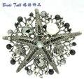 Женщины Ювелирные Изделия Hat Pin Черный Морская Звезда Брошь Брошь Pin W/Подражать Перл Кристаллов Rhinestone 6412
