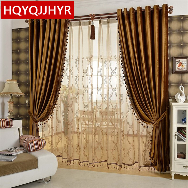 European luxury gold coffee velvet Blackout curtains for Living Room ...