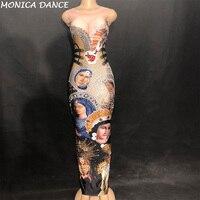 Для женщин сексуальная сцена длинное платье без рукавов Девы Марии Глава портрет сверкающими кристаллами печатных ночной клуб для вечерин