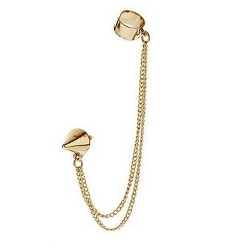 ef4c1d70777b9 US $0.71 17% OFF|Hot New Women Siver Gold Fashion Stylish Stud Earrings  Metal Spike Tassels Ear Cuff Piercing Chain Earrings 1 pcs (not one  pair)-in ...