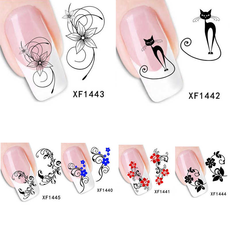 Fashion Nails Art Manicure Decals Florals Cat Design Water Transfer Nail Stickers for Women Nails Tips Nail Art Free Shipping