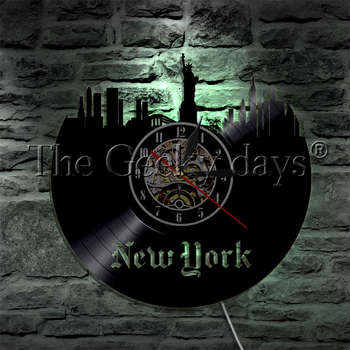 1Piece USA New York Statue of Liberty Skyline Vinyl Record Wall Clock With LED Backlight Home Decor Wall Watch LED Hanging Lamp