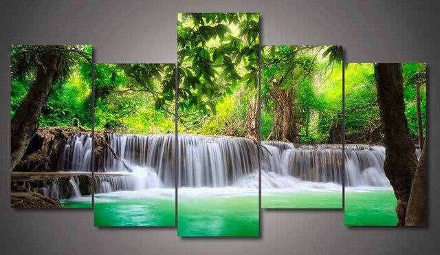 acheter 5 panneaux arbre vert et chute d 39 eau peinture pour le salon mur art. Black Bedroom Furniture Sets. Home Design Ideas