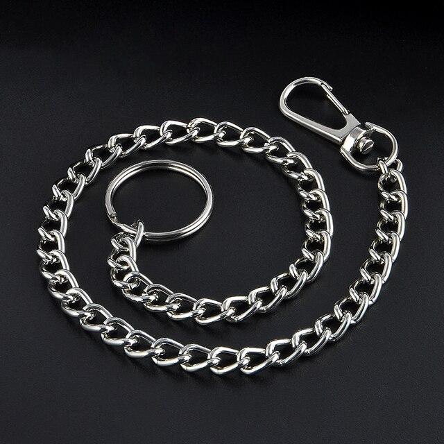 38 см длинный металлический брелок-кольцо брелок-цепочка Серебряная цепочка брюки-хипстер Жан ключ бумажник ремень-кольцо клип мужские ювелирные изделия Хип-хоп Бесплатная доставка