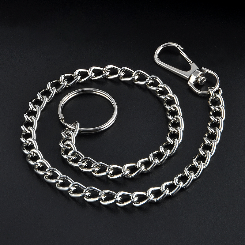 38cm Long Metal Keyring Keychain Silver Chain Hipster Pant Jean Key Wallet Belt Ring Clip Men's HipHop Jewelry Free Shipping